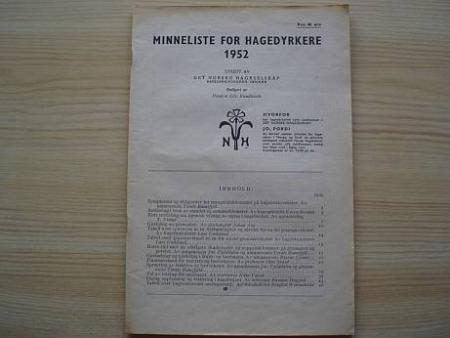 MINNELISTE FOR HAGEDYRKERE 1952