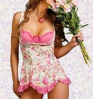 Sexy Rosa blomstret Babydoll One Size