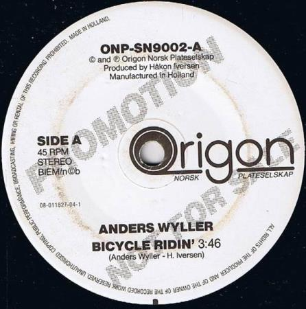 Anders Wyller - Bicycle Ridin' - Promo - Oslo - Anders Wyller - Bicycle Ridin' - ONP-SN9002 - Origon Norsk Plateselskap - Norge - 1990 Side A: Sove I Natt? Side B: Eine Glut Wie 1000 Feuer Vinyl i Excellent tilstand  - Oslo