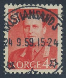 Norge stemplet: NK 458. KRISTIANSAND S. 24 9.59 (Va). Lux