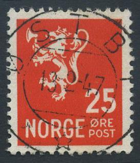 Norge stemplet: NK 354. ØSTBY 13.2.47 (He). Luksus!