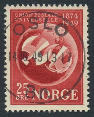 Norge stemplet: NK 381. OSLO/Br. 14.10.49 (Os). Luksus.