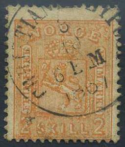 Norge stemplet: 012. CHRISTIANIA BYPOST (t.1) 8.10.1867.