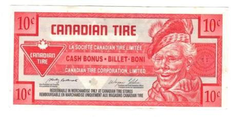Flott Canada Tire Money 10 cent ND