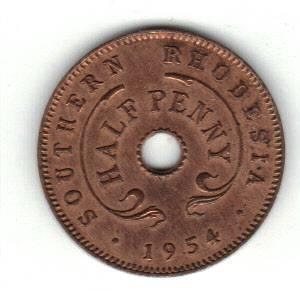 Southern Rhodesia 1/2 penny 1954