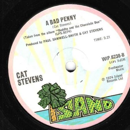 CAT STEVENS.-TWO FINE PEOPLE-A BAD PENNY.-1974.