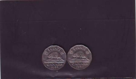 Canada - 5 cent 1953 - 1954 - KM 50 - norsk konto
