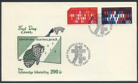 Norge FDC: 0634-35. Folketelling, 1969 (Off.). Uadressert