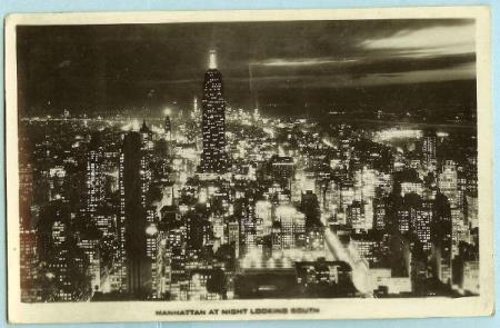Manhattan at night looking south - stp. New York 10 May 1939