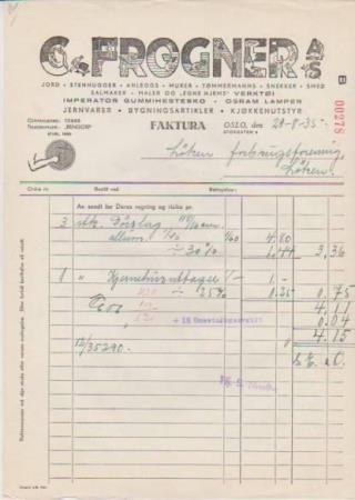 FAKTURA C.FROGNER A/S OSLO 29.8-1935-
