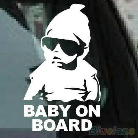"""Baby on board - safety sticker - Tveit - This Baby on Board Car Safty Sticker has no background and it is easy to install and remove, good to notice the people your cute baby is on the car - New without tag Size: 6"""" TALL (15CM) Default color: Reflective silver Color : White - Package Inc - Tveit"""
