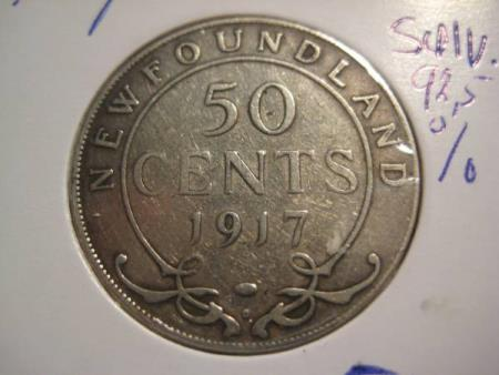 50 Cent New Foundland 1917 sølv