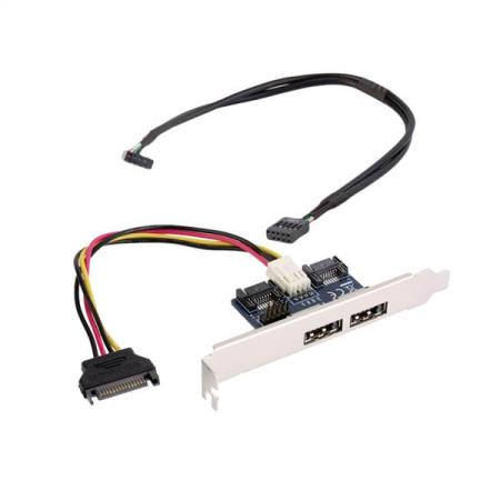 DUAL POWER eSATA TIL DUAL SATA 2.0 ADAPTER KORT - Oslo - DUAL POWER eSATA (eSATA+USB) 12V+5V TIL Dual SATA 2.0 ADAPTER KORT MED 9pin USB KUN KR. 99.- Description: Expand two Power Over eSATA port from your SATA host. No driver needed. Power eSATA is eSATA USB combo, NOT eSATA or USB port Features: Real P - Oslo