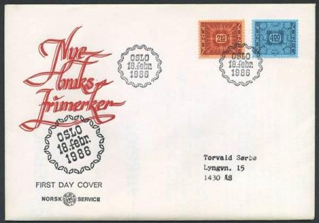 Norge FDC: 0990-91. Ornamenter I, 1986 (Off.). Adressert