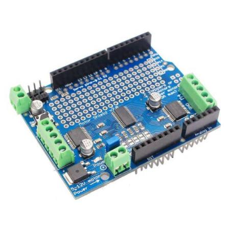 MOTOR / STEPPER / SERVO SHIELD v2 MODULE – FOR ARDUINO - Oslo - MOTOR / STEPPER / SERVO SHIELD v2 MODULE FOR ARDUINO KUN KR. 189.- Features: 1 The interface is fully compatible w/ expansion Arduino 2 Arduino communication via I2C address can be modified 3 It can take two servos , direct PWM drive output 4 You c - Oslo