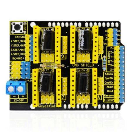 CNC SHIELD V3 ENGRAVER MACHINE, 3D PRINTER BOARD FOR ARDUINO - Oslo - CNC SHIELD V3 ENGRAVER MACHINE, 3D PRINTER BOARD FOR ARDUINO KUN KR. 119.- This 3D printer stepper motor shield V3 can be used as driver expansion board for engraving machines and 3D printers. It has in total 4 channel slots for A4988 stepper motor - Oslo