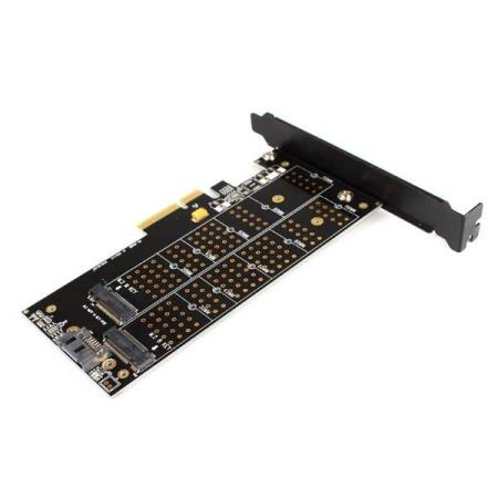 DUAL NGFF M.2 B + M Key SSD ADAPTER PCI-EXPRESSS X4 KORT - Oslo - DUAL NGFF M.2 B M Key SSD ADAPTER PCI-EXPRESSS X4 KORT KUN KR. 119.- Dual Port NGFF M.2 B M Key SSD to PCI-E 4X Adapter Card Can be very convenient to B Key m.2 NGFF (SATA specification) and M Key m.2 NGFF SSD (PCIE specification) into desktop use; - Oslo
