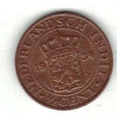 Praktfull Nederlandsk India 1/2 cent 1934