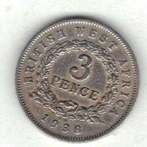 British West-Africa 3 pence 1938 K.N.