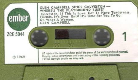 GLEN CAMPBELL.-SINGS GALVESTON-WHERE;S THE PLAYGROUND SUSIE?