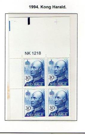 2349 Norge -  1994  Harald 30 kr, postfr. 4bl