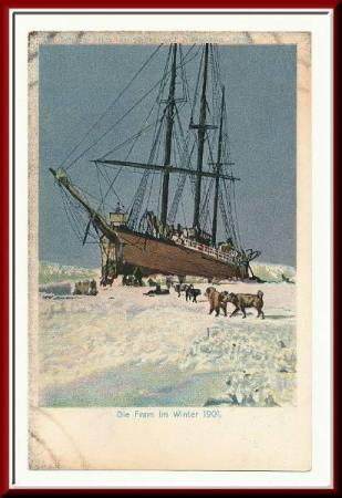 ★★ LITHO OTTO SVERDRUP EXPEDITIONS ★★  Die FRAM im WINTER