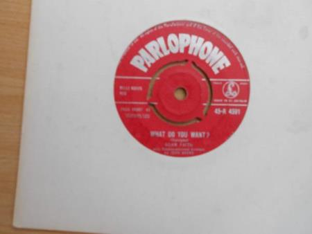 """ADAM FAITH=WHAT DO YOU WANT                          VG+ - Dyrvk - ORIGINAL 1959 7"""" SINGLE ON PARLOPHONE 45-R.4591.SIDE 1=WHAT DO YOU WANT.SIDE 2=FROM NOW UNTIL FOREVER.THE VINYL IS VG+.IN A PLAIN WHITE SLEEVE...  - Dyrvk"""