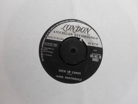 """WINK MARTINDALE=DECK OF CARDS EX - Dyrvk - ORIGINAL 1959 7"""" SINGLE ON LONDON 45-HL-D.8962.SIDE 1=DECK OF CARDS.SIDE 2=NOW YOU KNOW HOW IT FEELS.THE VINYL IS EX.IN A PLAIN WHITE SLEEVE..  - Dyrvk"""