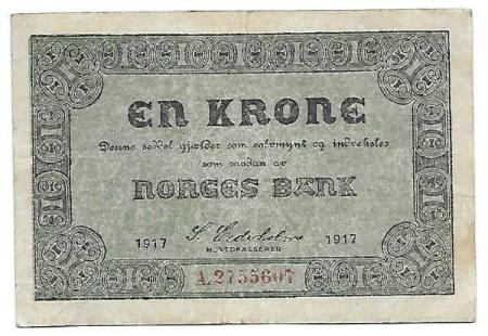Norge 1 krone 1917 A