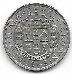 Nydelig New Zealand 1/2 crown 1949