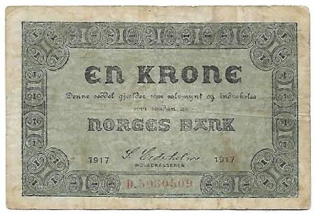 Norge 1 krone 1917 D