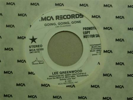 """Lee Greenwood:   Going, Going, Gone  -  7""""  PROMO"""