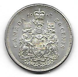 Nydelig Canada 50 cents 1962