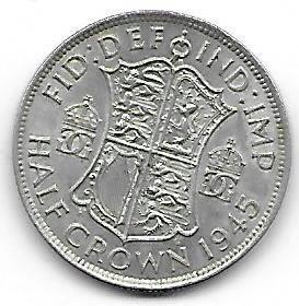 Nydelig England 1/2 Crown 1945
