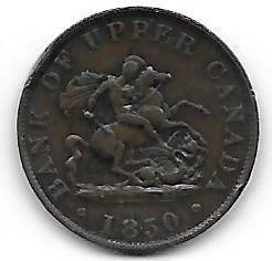 Nydelig Upper Canada 1/2 penny 1850