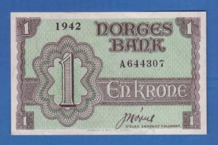 * 1 kr. LONDON 1942  A   *  Kv. 0 -  0/01 * FLOTT seddel. *
