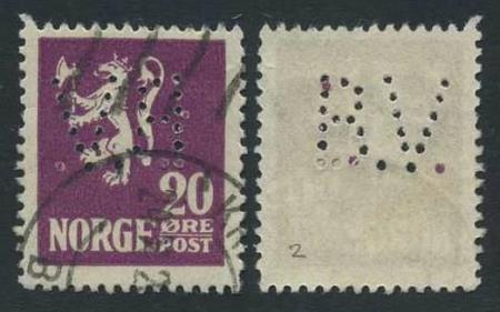 """Norge perfins: """"B.V."""". NK 127 (st.2)."""
