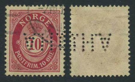 """Norge perfins: """"J.H.A"""". NK 100 (st.4). Variant."""