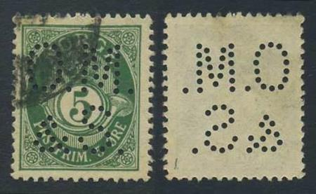 """Norge perfins: """"O.M. / & S"""" (type 1). NK 076X (st.1)."""