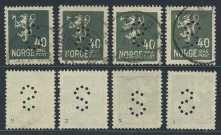 "Norge offentlige perfins: ""S"". NK 152 (st.1-2-3-4)."