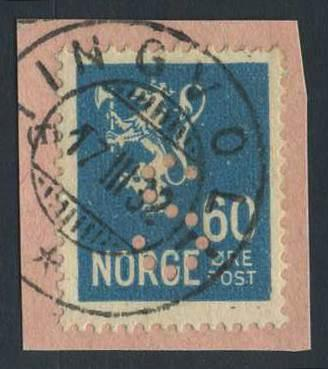"Norge offentlige perfins: ""S"". NK 154 (st.1).  TINGVOLL"