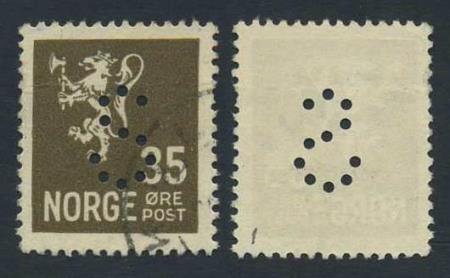"""Norge offentlige perfins: """"S"""". NK 149 (st.1)."""