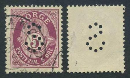 """Norge offentlige perfins: """"S"""". NK 118 (st.1)."""
