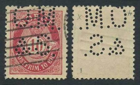 """Norge perfins: """"O.M. / & S"""" (type 1). NK 077 IIX (st.1)."""