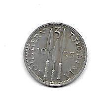 Nydelig Southern Rhodesia 3 pence 1935