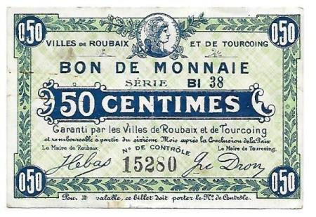 Frankrike/Roubaix & Tourcoing 50 centimes ND ca. 1917