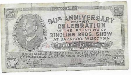 USA 15 cents 1933 Ringling Brothers