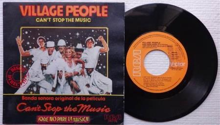 """VILLAGE PEOPLE Cant Stop The Music Spanish promo 7"""""""
