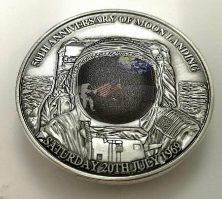 3 D Firstman on the moon coin.