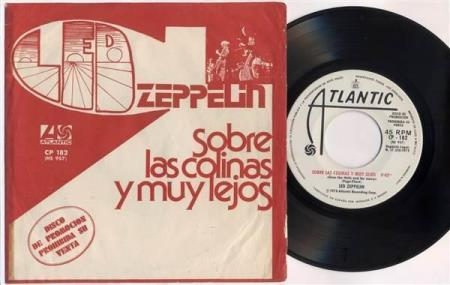 """LED ZEPPELIN Over The Hills And Far Away Spanish promo 7"""""""